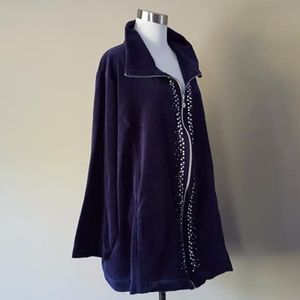 Catherines Plus Size 4X Purple Zipper Fleece Top
